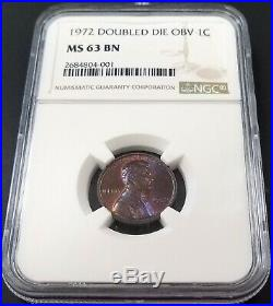 1972 Lincoln Cent, Mint Error, Doubled Die Obverse, certified MS 63 BN by NGC