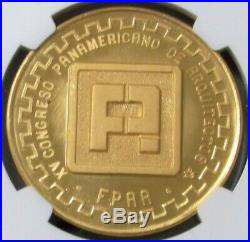 1975 Gold Mexico 50 Peso Congress Of Architects Ngc Mint State 68