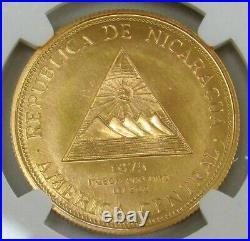 1975 Gold Nicaragua 320 Minted 2000 Cordobas USA Bicentennial Ngc Mint State 69