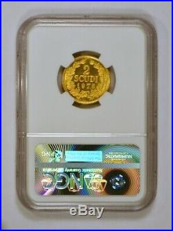 1975 San Marino 2 Scudi Gold Coin with Wreath Graded MS67 Mint State 67 by NGC