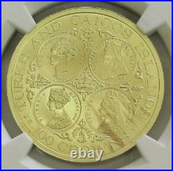 1976 Gold Turks & Caicos 250 Minted 4 Ages Victoria 100 Crowns Ngc Mint State 69