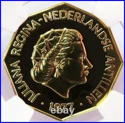1977 Fm Gold Netherlands Antilles 654 Minted 200 Gulden Ngc Mint State 68 Dpl