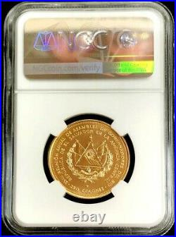 1977 GOLD EL SALVADOR 250 COLONES 18th GOVERNORS ASSEMBLY COIN NGC MINT STATE 68