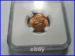 1980 Jefferson Nickel NGC MS 65 RD Struck On Cent Planchet Mint Error Off Metal