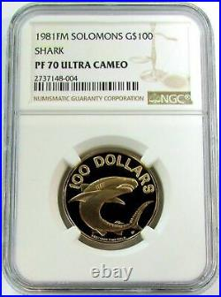 1981 Gold Solomons 675 Minted $100 Shark Ngc Perfect Proof 70 Ultra Cameo