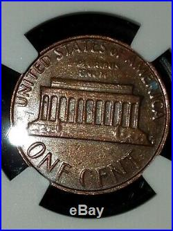 1982 Lincoln cent penny LG DT BRONZE 1C MINT ERROR Obverse Struck Thru Capped