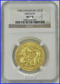 1984 Gold Singapore 1 Oz Lunar Year Of The Dragon Coin Ngc Mint State 68