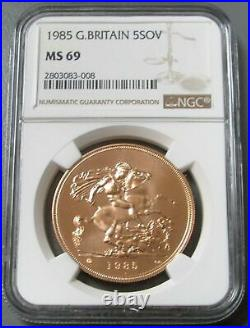 1985 Gold Great Britain 5 Pounds Ngc Mint State 69