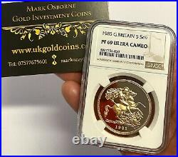 1985 Gold Proof £5 (Five Pounds) Royal Mint Coin NGC Graded PF69 Ultra Cameo