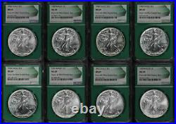 1986-1993 Silver Eagle 8 Coin Set From US Mint Sealed Box NGC MS-69 Green Core