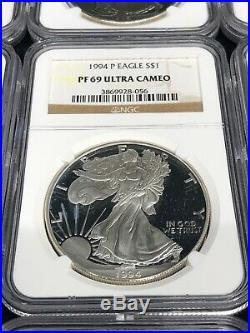 1986-2015 PF 69 Ultra Cameo NGC $1 American Silver Eagle 29pc Set Collection Lot