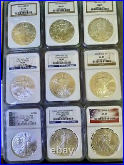 1986-2020 Silver Eagle Set NGC MS69 Complete (35 Coin Set) Mint, Early Releases