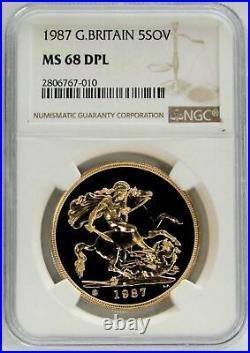 1987 Gold Great Britain 5 Pounds St George Coin Ngc Mint State 69 Deep Prooflike