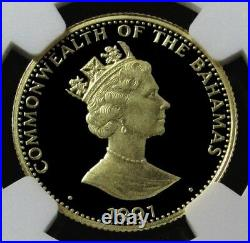 1991 Gold Bahamas 500 Minted $100 Discovery Coin Ngc Proof 69 Ultra Cameo