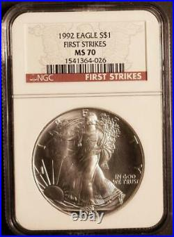 1992 $1 1 oz. Mint State American Silver Eagle NGC MS 70 First Strikes Pop 66