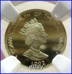 1992 Gold Bahamas 750 Minted $5 Flamingos Ngc Proof 67 Ultra Cameo