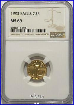 1993 Ngc Ms69 $5 Mint State Gold American Eagle 1/10 Oz Age Low Mintage Rare