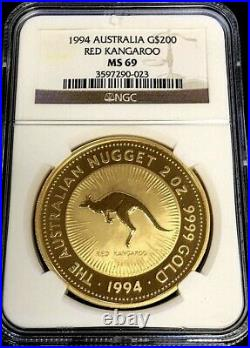 1994 Gold Australia $200 Red Kangaroo 2 Oz Coin Ngc Mint State 69