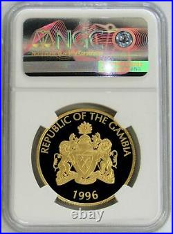 1996 Gold Gambia 1,000 Minted Endangered African Lion 200 Dalasis Ngc Pf 69 Uc