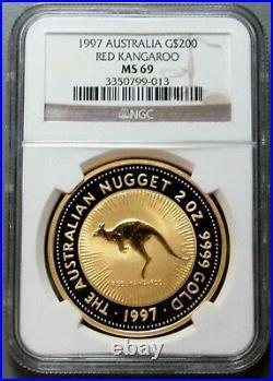 1997 Gold Australia 2 Oz $200 Ngc Mint State 69 Red Kangaroo