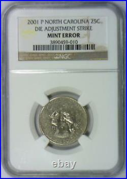 2001-P North Carolina Quarter Die Adjustment Strike Mint Error NGC Certified