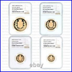 2002 Royal Mint 4 Coin Gold Proof Sovereign Set £5 1/2 Sov Graded Ngc Pr70