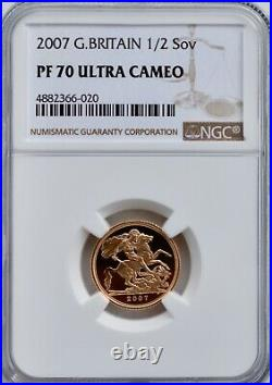 2007 Gold Proof 1/2 Sovereign Half NGC PF70 Ultra Cameo Britain Royal Mint