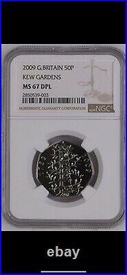 2009 Kew Gardens 50p Royal Mint Fifty Pence MS67 DPL NGC Great Britain UK BU