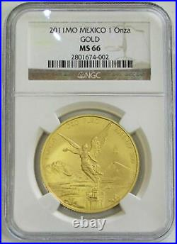 2011 Mo Gold Mexico 1 Onza Winged Victory Coin Ngc Mint State 66