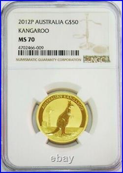 2012 P Gold Australia $50 Kangaroo 1/2 Oz Coin Ngc Mint State 70