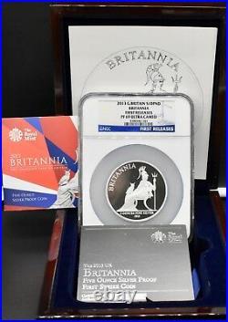 2013 Silver Britannia 5oz £10 PF69 NGC Royal Mint + Box & COA Great Britain