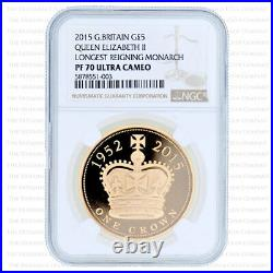 2015 Royal Mint Longest Reigning Monarch Gold Proof Five Pounds £5 Ngc Pp70