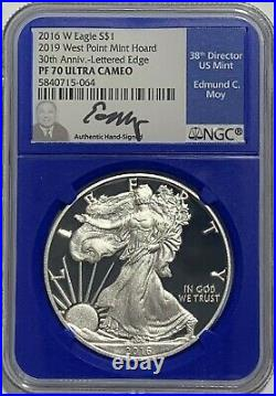 2016 W $1 Proof Silver Eagle Ngc Pf70 Moy From 2019 West Point Mint Hoard Blue