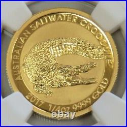 2017 Gold Australia 1/4 Oz $25 Saltwater Crocodile Coin Ngc Mint State 70