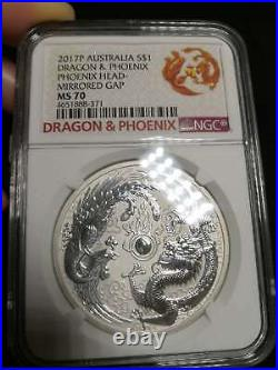 2017 Perth Mint Phoenix & Dragon 1oz Silver Bullion Error Mirrored Gap NGC MS70