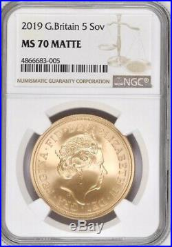 2019 Gold £5 (Five Pounds, 5 Sovereign) NGC Graded MS70 Matte & Royal Mint Box