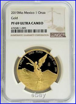 2019 Mo Gold Mexico 750 Minted 1 Onza Libertad Coin Ngc Proof 69 Ultra Cameo