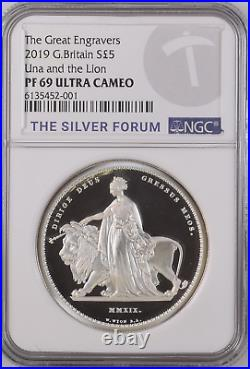 2019 Royal Mint Silver Proof 2oz Una and the Lion Coin NGC PF69 UCAM
