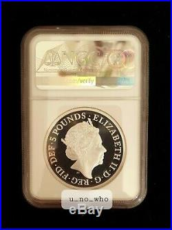 2019 Royal Mint UK 2oz Two Ounce Silver Proof Una NGC PF 70 Ultra Cameo