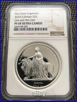 2019 UK Royal Mint Una and the Lion £5 Five Pound Silver 2oz Coin NGC PR69UC