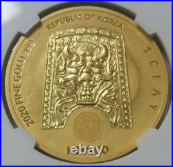 2020 GOLD SOUTH KOREA 1 CLAY CHIWOO CHEONWANG 1oz COIN NGC MINT STATE 68
