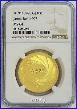 2020 Gold Tuvalu James Bond 007 $100 Coin 1 Oz Ngc Mint State 64