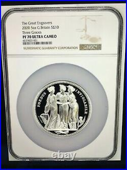 2020 Royal Mint The Great Engravers-The Three Graces Silver 5oz £10 NGC PF70