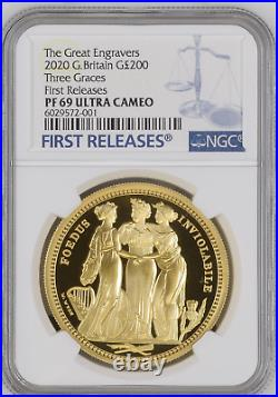 2020 Royal Mint Three Graces Gold Proof £200 Two Ounce 2oz NGC PF69 UCAM FR