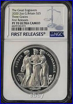 2020 Royal Mint Three Graces Silver Proof 2oz Two Ounce Pf70 Graded Coin NGC