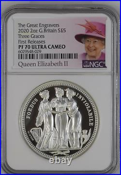 2020 Royal Mint Three Graces Silver Proof Two Ounce 2oz NGC PF70 First Release