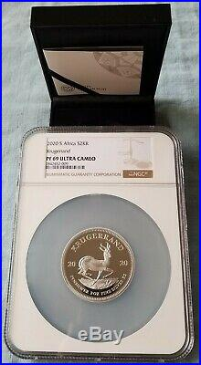 2020 SA 2oz Silver Proof Krugerrand PF69 With ALL ORIGINAL MINT PACKAGING