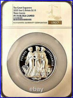 2020 Three Graces Five Ounce 5oz £10 Silver Proof NGC PF70 Royal Mint