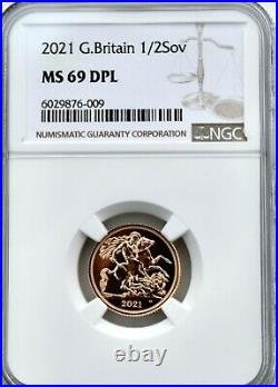 2021 Gold Half Sovereign NGC MS69 DPL Britain Royal Mint