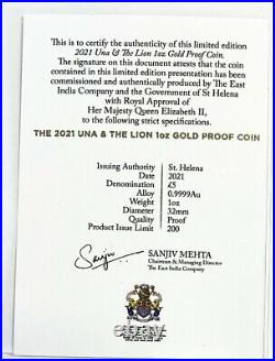 2021 Gold Proof Una and the Lion, St Helena, East India Mint NGC PF70 Ultra Cam